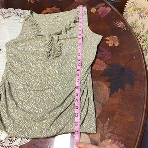 Halogen Tops - Green cream polka dot ruffle blouse